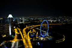 Skyline of Downtown Singapore at Night Royalty Free Stock Photo