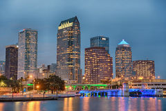 The skyline of downtown Tampa, Florida, at sunset. TAMPA, FLORIDA - JANUARY 15, 2015 : The skyline of downtown Tampa at sunset royalty free stock photography