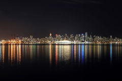 Skyline of Downtown Vancouver at night Royalty Free Stock Photos