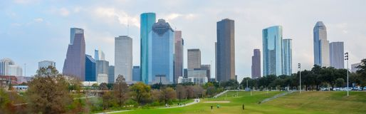 Skyline in dowtown Houston, TX. With skyscrapers. United States of America royalty free stock photography