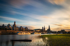 Skyline of Dresden at dusk Royalty Free Stock Photography