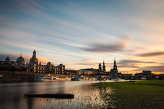 Skyline of Dresden at dusk Royalty Free Stock Image