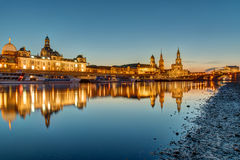 The skyline of Dresden in Germany at dawn Stock Photos