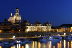 Skyline of Dresden at night royalty free stock photography