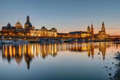 The skyline of Dresden at sunset Stock Photos