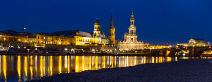 Skyline Dresden at twilight hour Royalty Free Stock Photo
