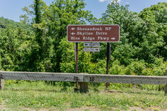 Skyline Drive and Blue Ridge Parkway Sign Royalty Free Stock Photo