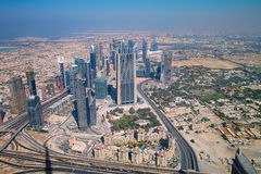 Skyline of Dubai. The Skyline of Dubai seen from The Tallest Building in the World Stock Photo