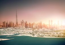 Skyline Dubai. Beautiful panoramic view of Dubai in sunset time Stock Photos