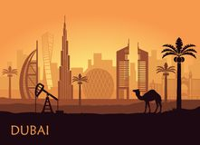 Skyline of Dubai with camel and date palm. United Arab Emirates. Abstract skyline of Dubai at dusk. United Arab Emirates vector illustration