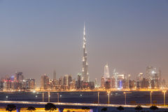 Skyline of Dubai City at night Stock Images