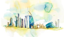 Skyline of Dubai Cityscape landmark skyline. Watercolor illustration vector illustration