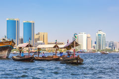 Skyline Dubai Creek stock images