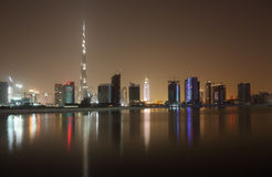 Skyline of Dubai at night Royalty Free Stock Images