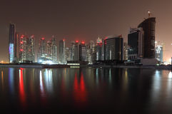 Skyline of Dubai at night Royalty Free Stock Photo