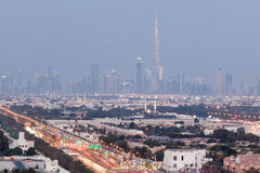 Skyline of Dubai at night Royalty Free Stock Image