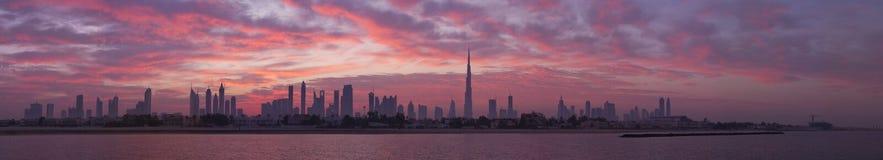 Skyline Dubai, before sunrise. High resolution of Panorama of Dubai skyline Stock Photos
