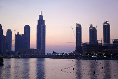 Skyline of Dubai by sunset Stock Images