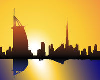 Skyline Dubai at sunset. Illustration of Dubai Skyline with Burj al Arab and Burj Dubai Royalty Free Stock Photography