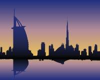 Skyline Dubai at sunset. Illustration of Dubai Skyline with Burj al Arab and Burj Dubai Stock Photos