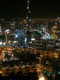 The skyline in Dubai. The view from the 80th floor at night in Dubai Royalty Free Stock Photo