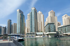 Skyline of Dubai from the water Stock Photo