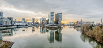 Skyline of Duesseldorf during sunset. Skyline of Duesseldorf in Germany Royalty Free Stock Image