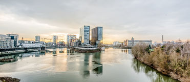 Skyline of Duesseldorf during sunset Royalty Free Stock Image