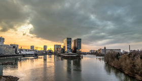 Skyline of Duesseldorf during sunset Royalty Free Stock Photos