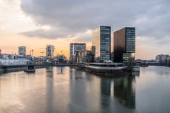 Skyline of Duesseldorf during sunset. Skyline of Duesseldorf in Germany Stock Photography