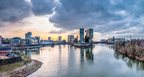 Skyline of Duesseldorf during sunset Stock Photography