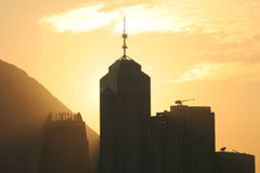 Skyline at Dusk. Part of the Hong Kong (Central) skyline at sunset Royalty Free Stock Image