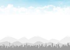 Skyline e céu azul com nuvens Fotos de Stock