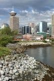 Skyline e costa de Vancôver Fotos de Stock Royalty Free