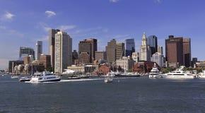Skyline e porto de Boston Imagem de Stock