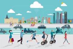 Skyline e povos do Madri com telefones espertos ilustração do vetor