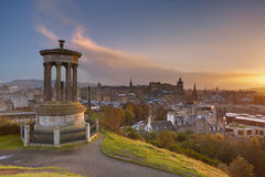 Skyline of Edinburgh, Scotland from Calton Hill at sunset. The Edinburgh skyline with the Edinburgh castle in the background. Photographed from Calton Hill at Stock Images