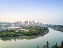 Skyline of Edmonton downtown, Alberta, Canada. Skyline of Edmonton downtown with Saskatchewan river, Alberta, Canada royalty free stock photos