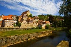 Skyline einer deutschen mittelalterlichen Stadt Stockbild