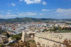 Skyline of Eivissa with castle wall. On island Ibiza, Spain summer time stock photo