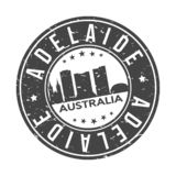 Adelaide Australia Oceania Round Button City Skyline Design Stamp Vector Travel Tourism. Skyline with emblematic Buildings and Monuments of this famous city vector illustration