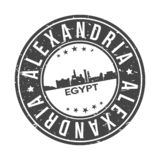 Alexandria Egypt Africa Round Button City Skyline Design Stamp Vector Travel Tourism. Skyline with emblematic Buildings and Monuments of this famous city royalty free illustration