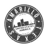 Amarillo Texas USA Round Button City Skyline Design Stamp Vector Travel Tourism. Skyline with emblematic Buildings and Monuments of this famous city royalty free illustration
