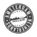 Amsterdam Netherlands Europe Round Button City Skyline Design Stamp Vector Travel Tourism. Skyline with emblematic Buildings and Monuments of this famous city vector illustration