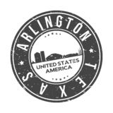 Arlington Texas Usa Round Button City Skyline Design Stamp Vector Travel Tourism. Skyline with emblematic Buildings and Monuments of this famous city stock illustration