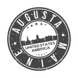 Augusta Maine USA Round Button City Skyline Design Stamp Vector Travel Tourism. Skyline with emblematic Buildings and Monuments of this famous city stock illustration