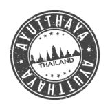 Ayutthaya Thailand Round Button City Skyline Design Stamp Vector Travel Tourism. Skyline with emblematic Buildings and Monuments of this famous city royalty free illustration