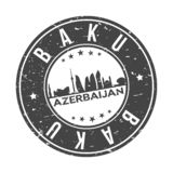 Baku Azerbaijan Round Button City Skyline Design Stamp Vector Travel Tourism. Skyline with emblematic Buildings and Monuments of this famous city vector illustration