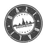 Bali Indoneasia Oceania Round Button City Skyline Design Stamp Vector Travel Tourism. Skyline with emblematic Buildings and Monuments of this famous city vector illustration