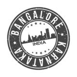 Bangalore Karnataka India Asia Round Button City Skyline Design Stamp Vector Travel Tourism. Skyline with emblematic Buildings and Monuments of this famous city stock illustration